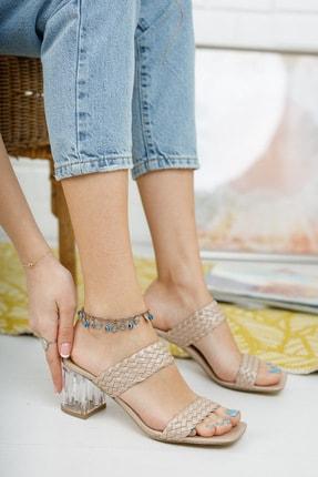 meyra moda Kadın Metalik Bronz Örgü Bant ve Şeffaf Topuk Detaylı Topuklu Terlik