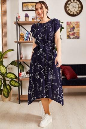 armonika Kadın Lacivert Desenli Beli Lastikli Bağlamalı Elbise ARM-21K001158