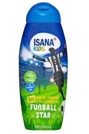 ISANA Kids Şampuan, Duş Jeli Ve Saç Bakım Kremi 3'ü 1 Arada Futbol Starı 300 Ml