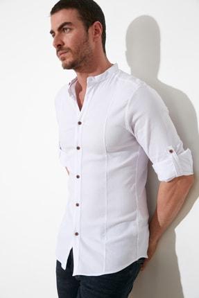 TRENDYOL MAN Beyaz Erkek Hakim Yaka Bengalin Kuplu Ekstra Slim Fit Gömlek TMNSS20GO0121