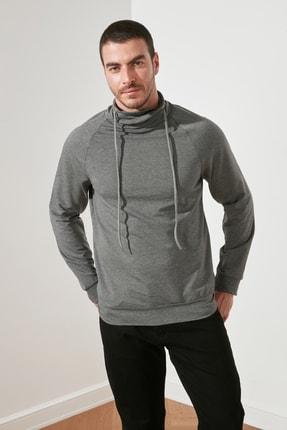 TRENDYOL MAN Antrasit Erkek Şal Yaka Regular Fit Sweatshirt TMNAW21SW0302