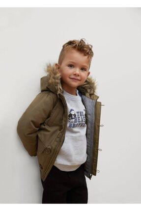 MANGO Baby Erkek Çocuk Haki Kapüşonu Suni Kürklü Palto
