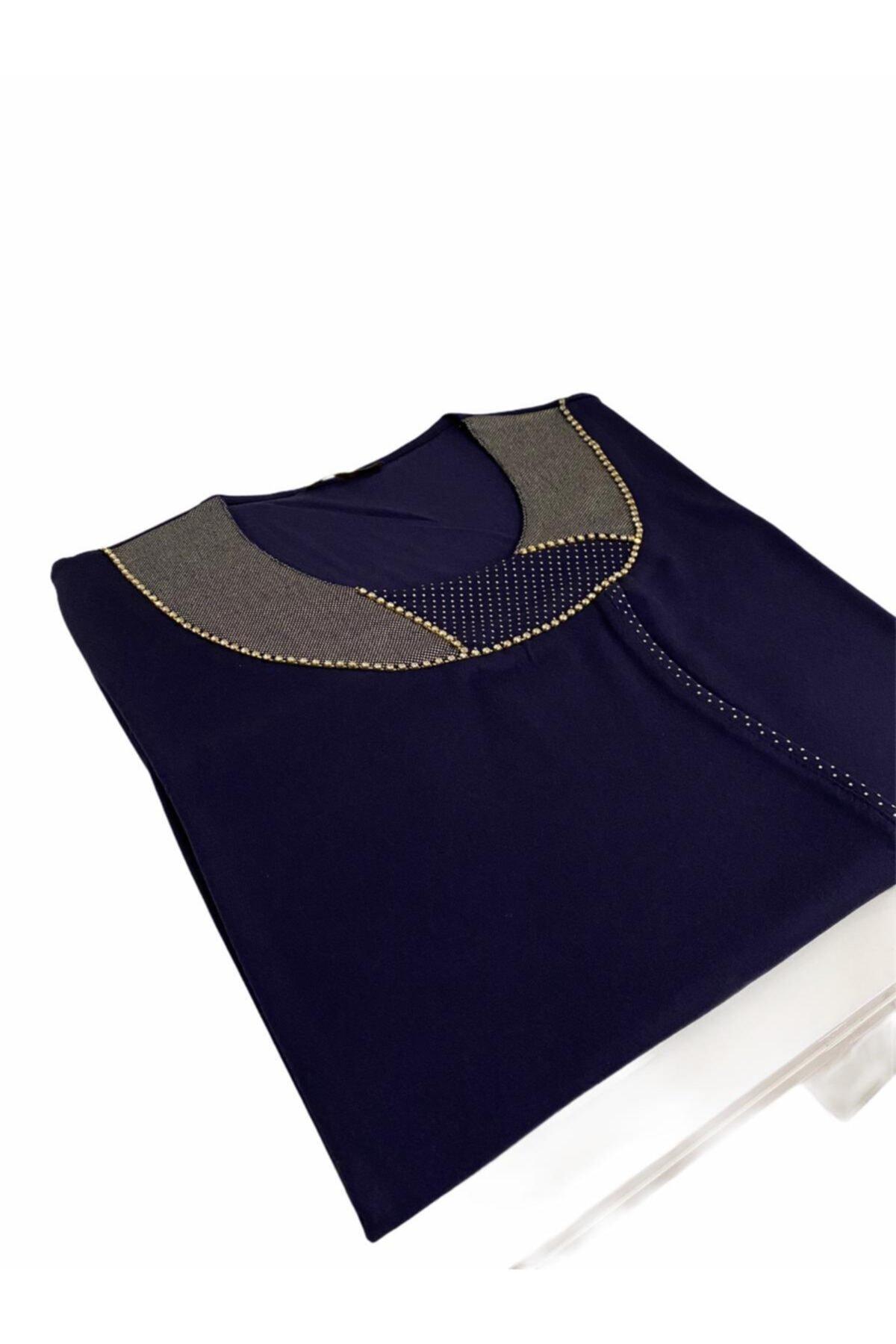 Elele Lacivert Parlak Taş Dizili O Yaka Penye Bluz 2