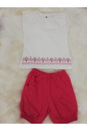 Wonder Kıds Kız Çocuk Beyaz Pembe Wonder Kids Pijama Takımı 130613
