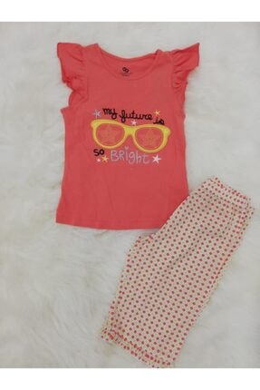 Wonder Kıds Kız Çocuk Pembe Bermuda Yazlık Pijama Takımı