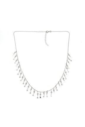 Luna Argento Jewelry Sallantılı Zirkon ve Yıldız Gümüş Kolye