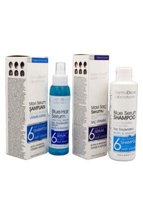 DermaDerm Mavi Saç Bakım Su Ve Serumu 125 ml Saç Güçlendirici Serum Vitaminli Mavi Şampuan 250 ml
