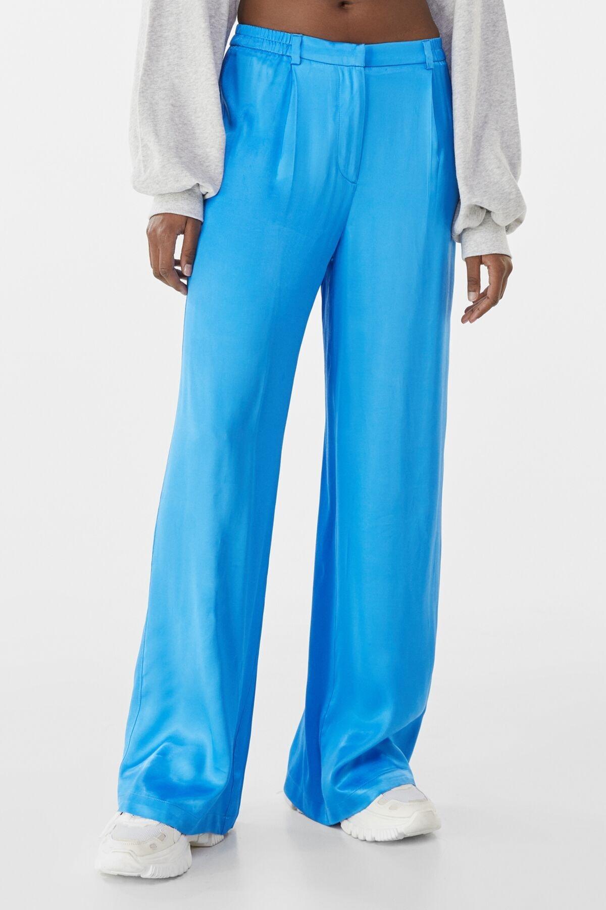 Bershka Kadın Mavi Wide Leg Saten Pantolon 00122200