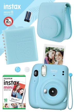 Fujifilm Instax Mini 11 Mavi Fotoğraf Makinesi Ve Kare Albümlü Hediye Seti 22