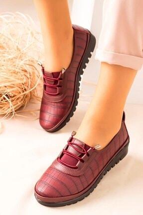 kısmetshoes Kadın Bordo Cilt Günlük Ortopedik Ayakkabı