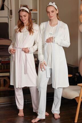 Feyza Pijama Kadın Beyaz 3'lü Pijama Takımı
