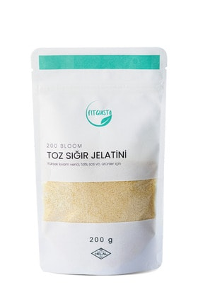 Fitgusto Toz Sığır Jelatini 200 Bloom (%100 Sığır Jelatini) - 200 Gr