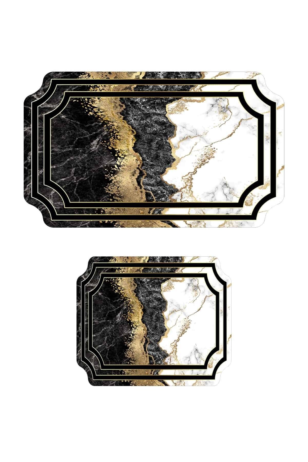 colizon 60x90 - 50x60 Prestij Dijital Banyo Halısı Lazer Kesim Klozet Takımı 2'li Paspas Seti 2
