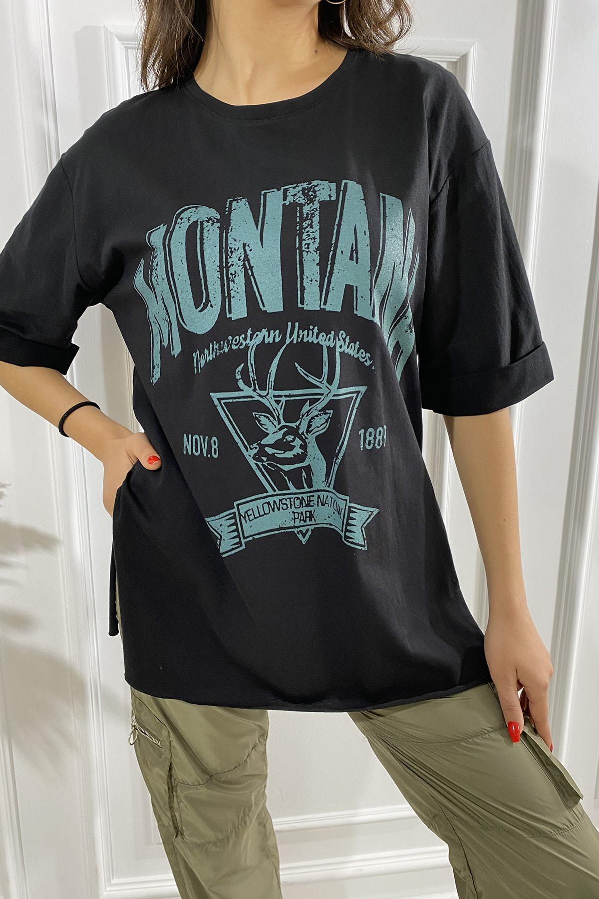 Eka Kadın Siyah Montana Baskılı Kollları Katlamalı T-shirt 1