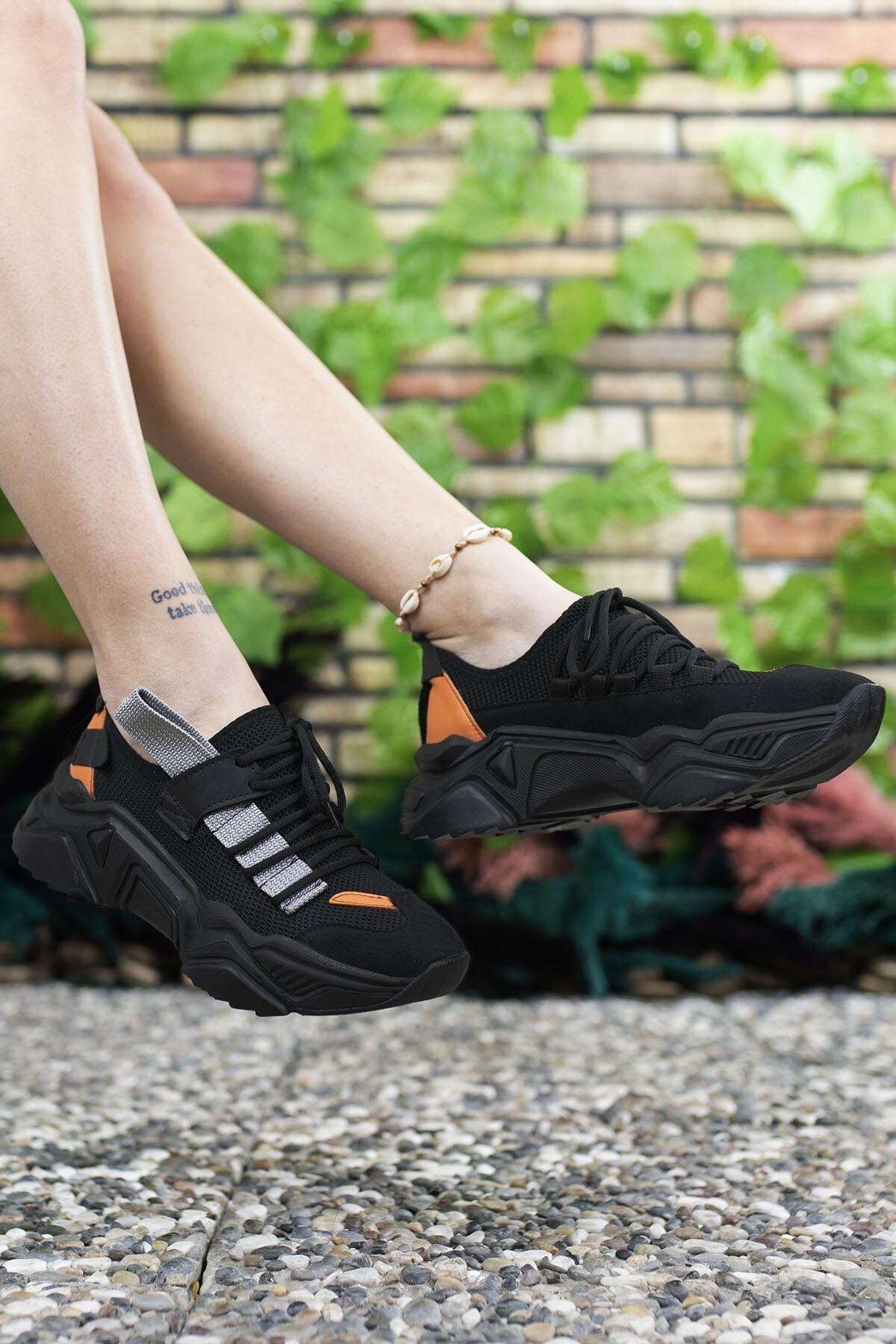 Riccon Kadın Siyah Sneaker 0012104 1