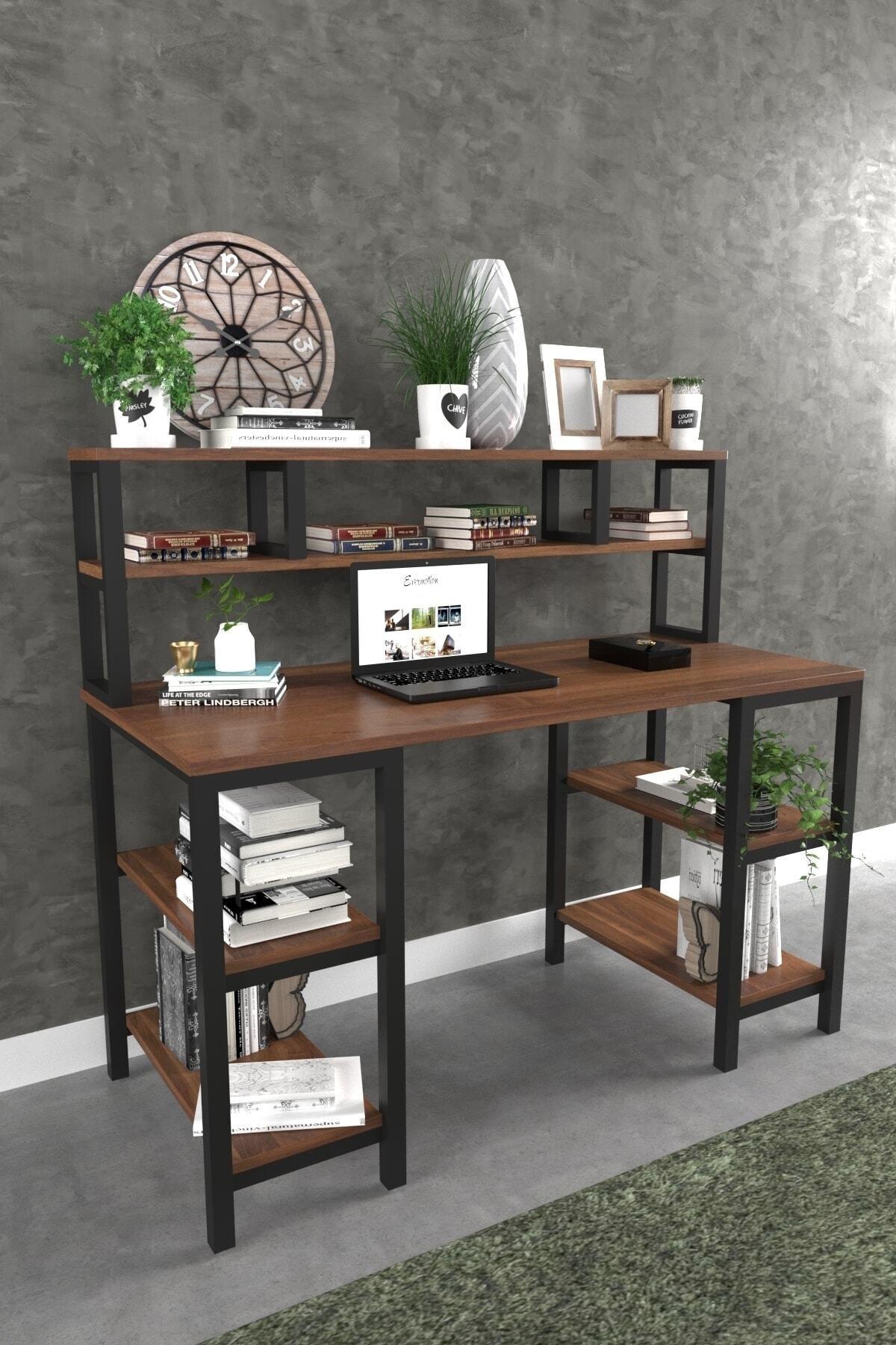 Evdemo Azra Kitaplıklı Çalışma Masası Ceviz 1