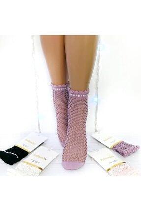 Katamino Taş Detaylı File Soket Çorap Lila Renk