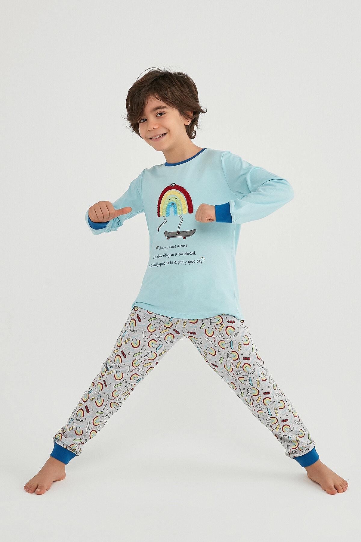 Penti Erkek Çocuk Mavi Pijama Takımı 2'li 1