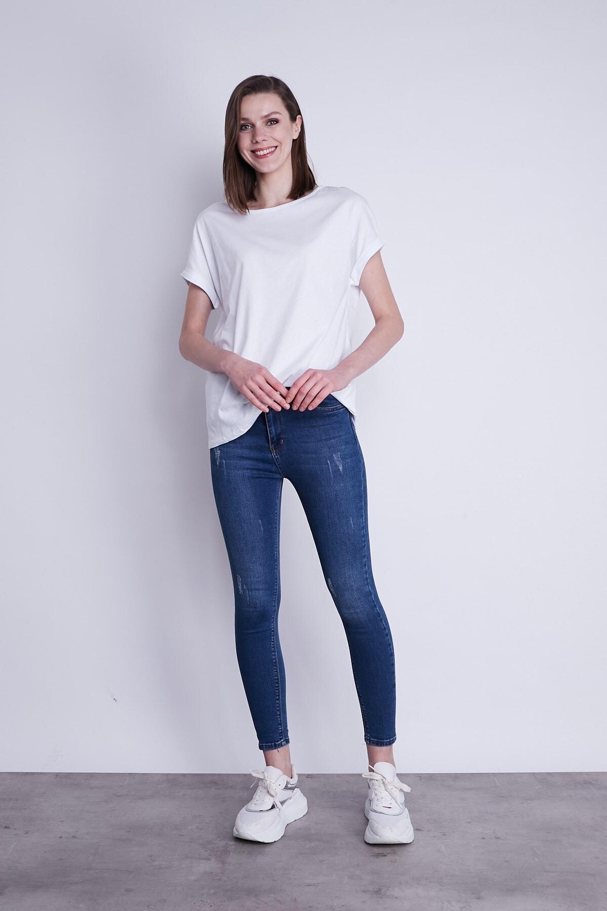Jument Kayık Yaka Kısa Duble Kol Rahat Spor Tshirt-beyaz 2