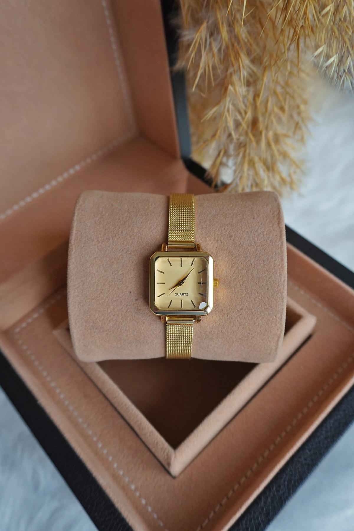 Ricardo Kadın Gold Hasır Çelik Kordon Vintage Kol Saati 2