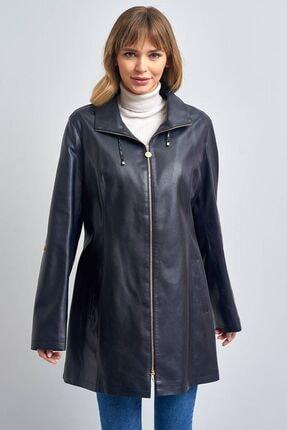 Pierre Cardin Kadın Lacivert Klasik Suni Deri Ceket
