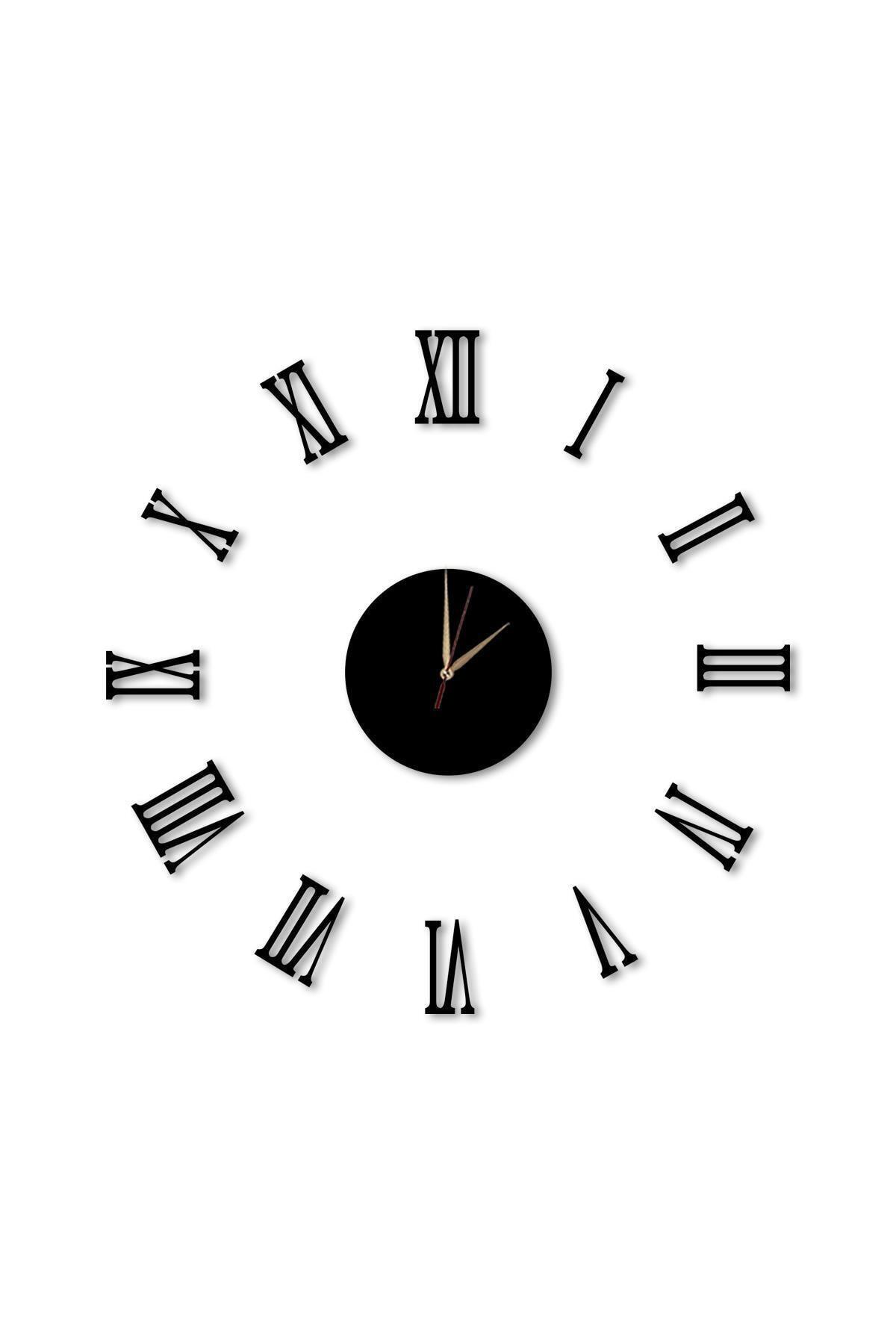 Dekolia Büyük Ahşap Romen Rakamlı  Göbek Duvar Saati Art1130 2