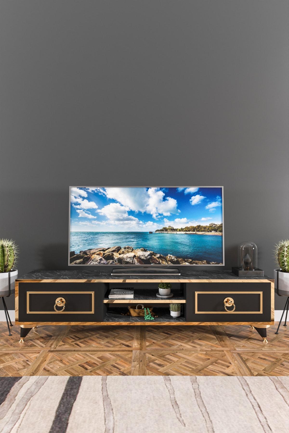 Ardeno Lotus Tv Ünitesi Siyah Mermer 1