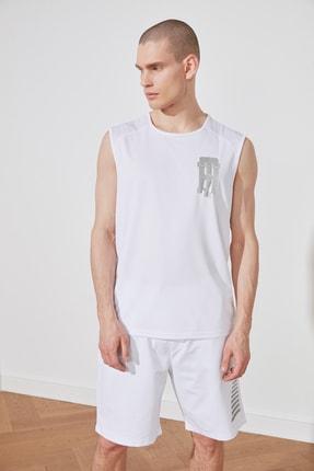 TRENDYOL MAN Beyaz Erkek Oversize Fit Sıfır Kollu  Atlet TMNSS21AL0079