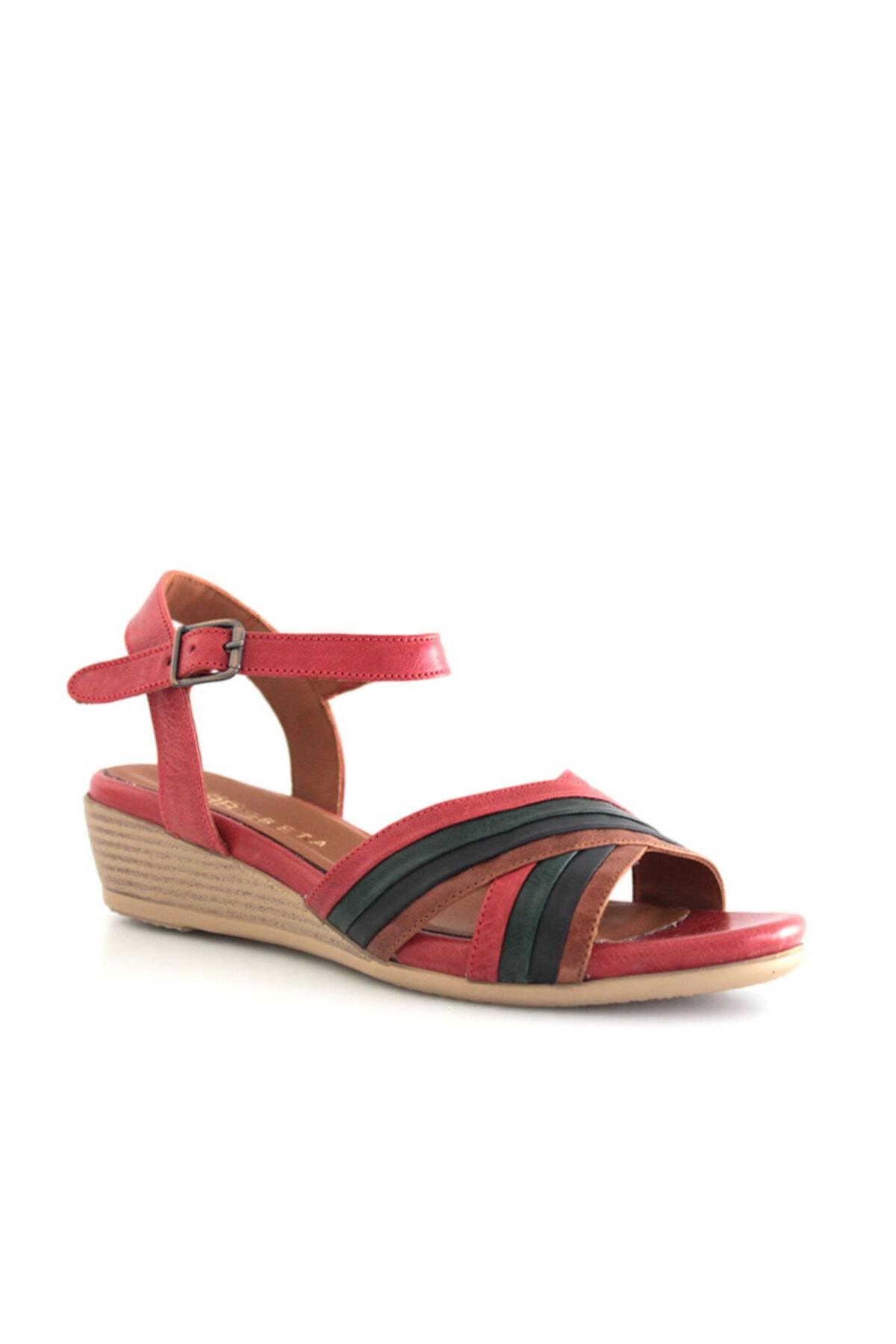 Beta Shoes Hakiki Deri Kadın Sandalet Kırmızı Kombin 1