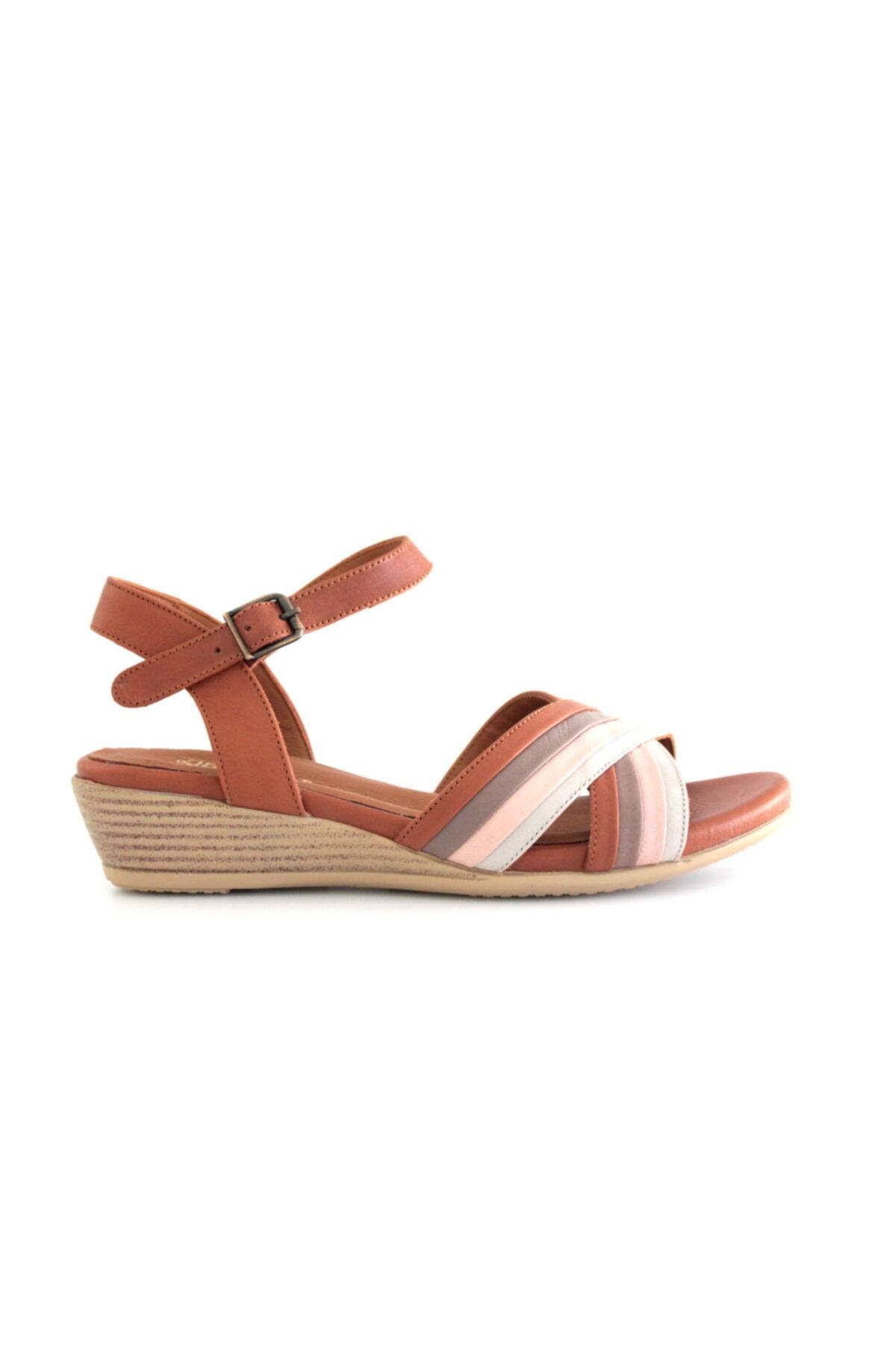 Beta Shoes Hakiki Deri Kadın Sandalet Vizon 2