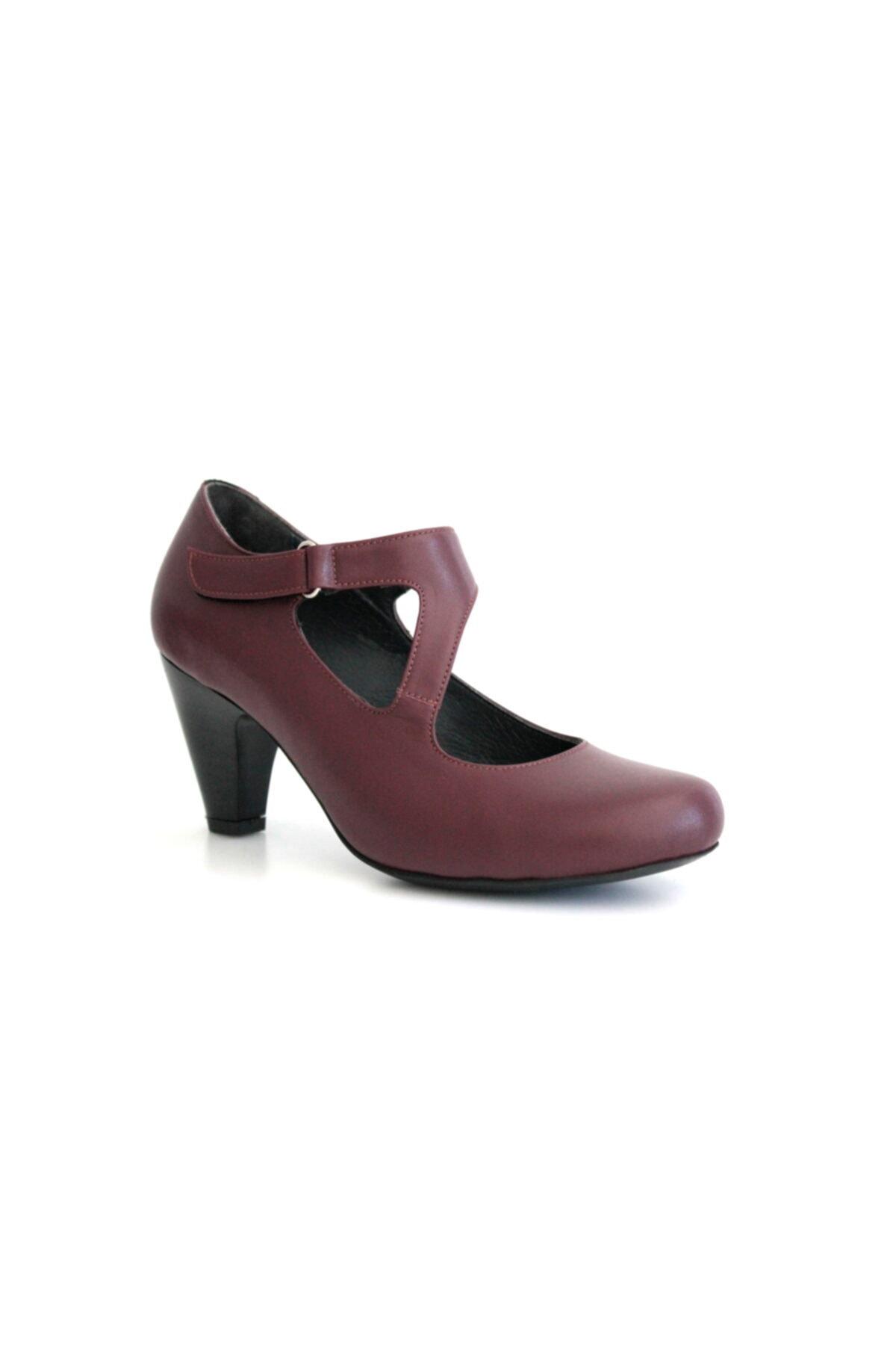 Beta Shoes Kadın Hakiki Deri Topuklu Ayakkabı Bordo 1