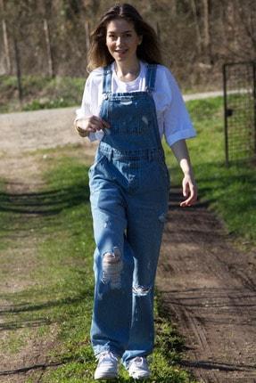 Gaydalı Giyim Mavi Bahçıvan Salopet Yırtık Jean Tulum