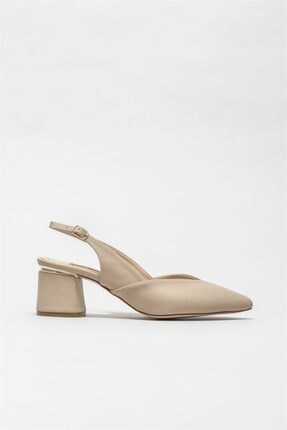 Elle Shoes Kadın Naturel Orta Topuk Ayakkabı