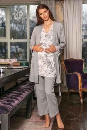 Anıl 5543 Çeyizlik V Yaka Kadın Viskon Desenli Uzun Sabahlıklı Hamile Pijama Takımı