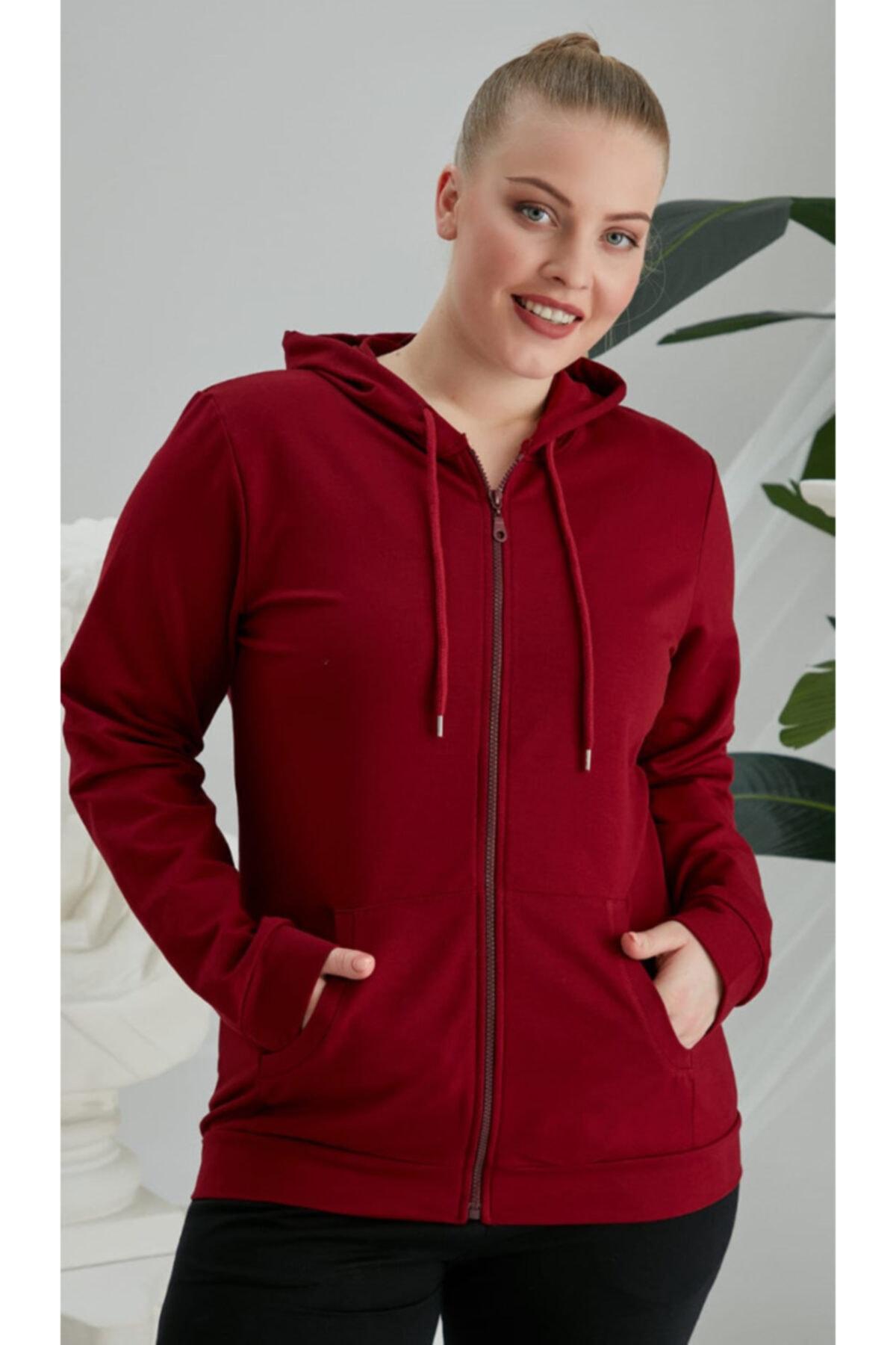 RMG Kadın Kırmızı Büyük Beden Fermuarlı  Sweatshirt 1