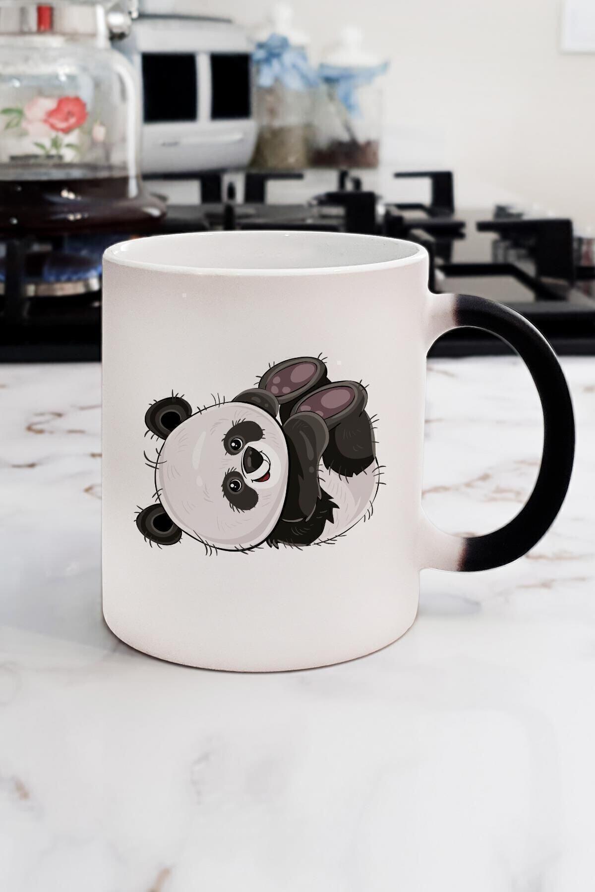 Yaprak Hediyelik Sevimli Panda Sihirli Kupa Bardak 2