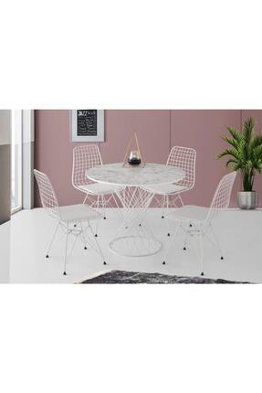Erezogulları Mobilya Beyaz Mermer Desen Yuvarlak Mutfak Masası Ve 4 Adet Sandalye 90cm