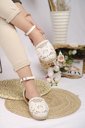 Oksit Kadın Flr Dantel Motifli Sandalet