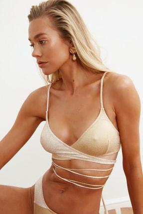 TRENDYOLMİLLA Bronz Renk Bloklu Bikini Üstü TBESS21BU0278