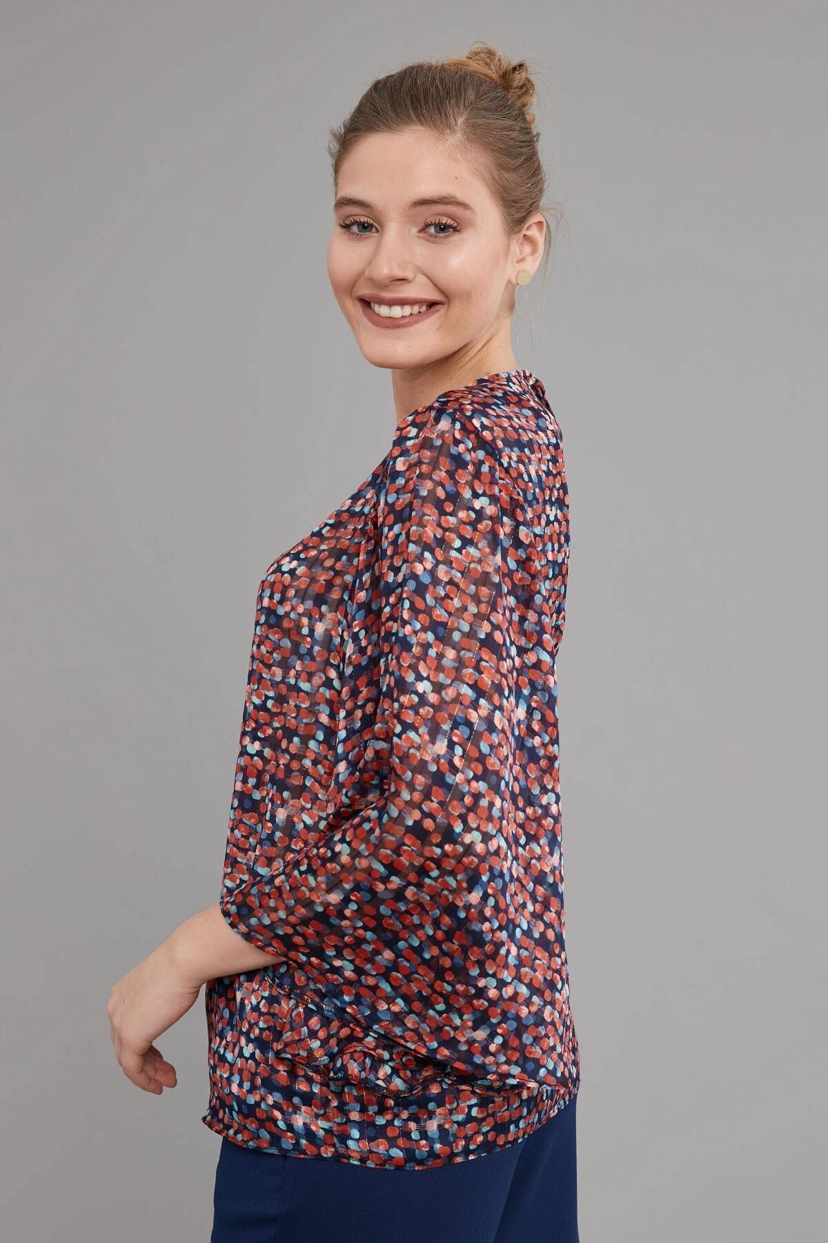 Journey Kadın  Lacivert Desenli Bluz 2