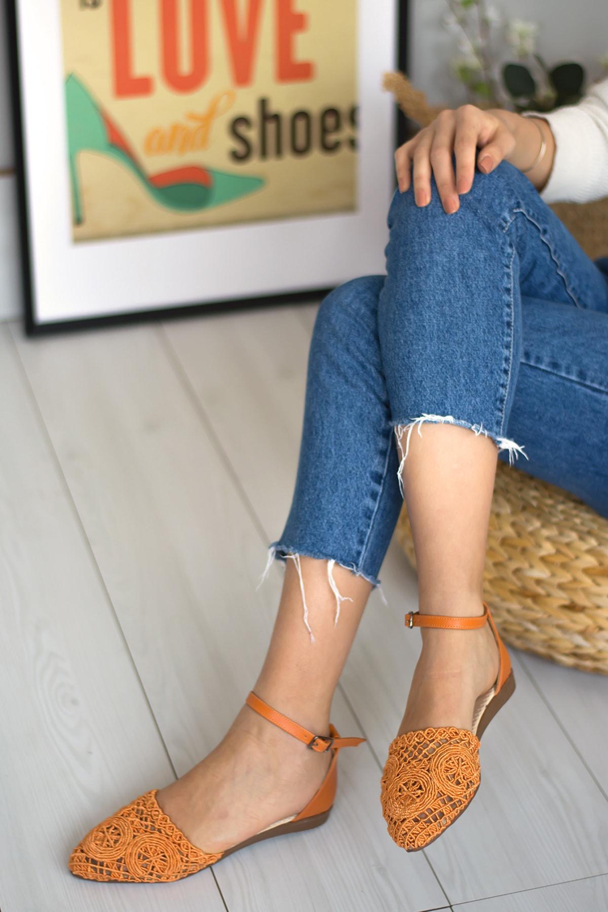 Gökçe Shoes Simras Turuncu Babet 1