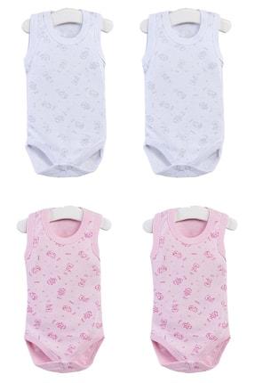 Pattaya Kids Kız Bebek Pembe Beyaz Kolsuz Çıtçıtlı Body  Ptk20s-403