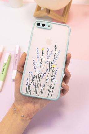 Spoyi Iphone 7 Plus - 8 Plus Mavi Hux Soft Lavander Tasarımlı Telefon Kılıfı