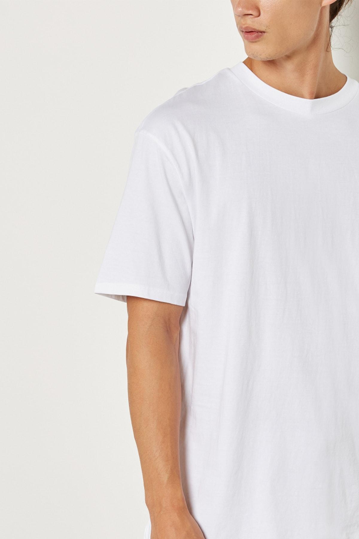Relax&Basic Erkek Beyaz Oversize Basic T-shirt 2