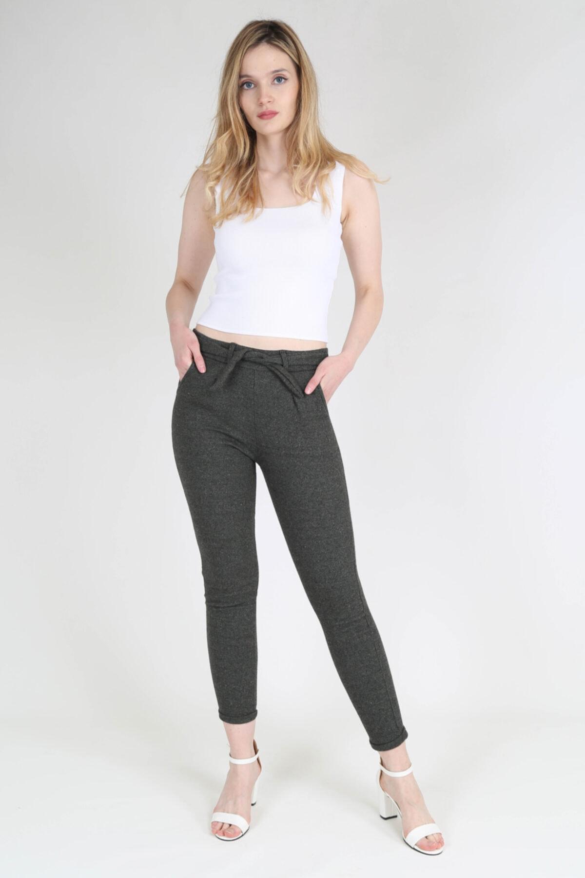 rubbyrush Kadın Haki Kuşaklı Pantolon - Rb0126 1