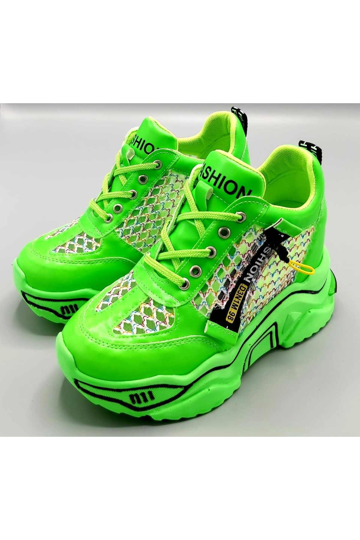 CassidoShoes Anatomik Dolgu Taban Neon Yeşil Kadın Spor Ayakkabı 2