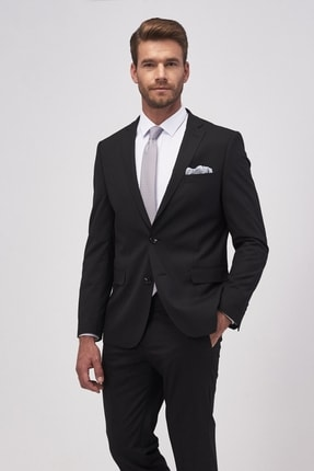 ALTINYILDIZ CLASSICS Erkek Siyah Slim Fit Siyah Takım Elbise