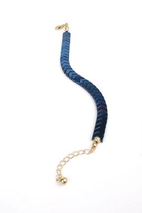 Marjin Kadın Dorika Taşlı Mavi Renkli Balık Sırtı Model Taşlı Bileklik
