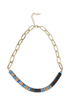 Marjin Kadın Mavi Gold Hematit Doğal Taş Kolye