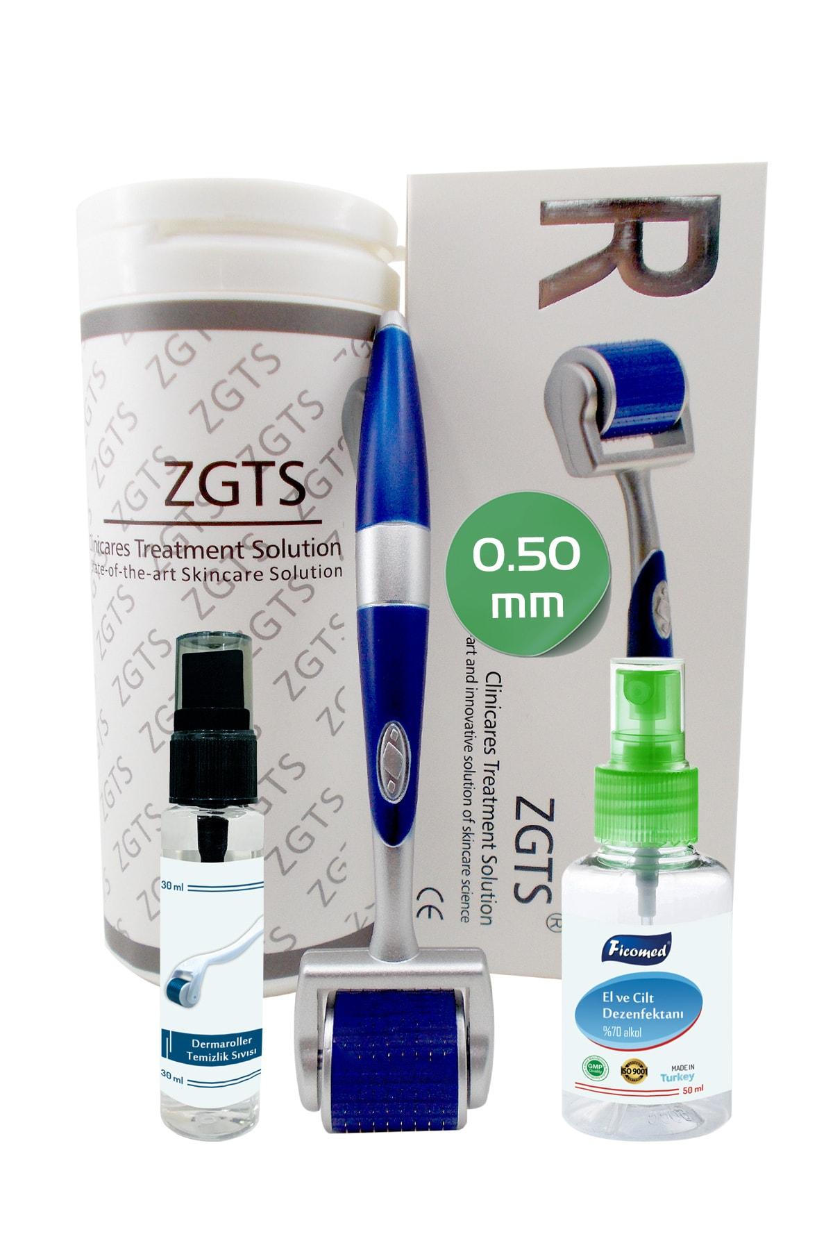 Zgts Blue Line Dermaroller 0.50mm Titanyum 192 İğneli Saç Yüz Cilt İçin Derma Roller 1